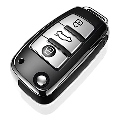 Tukellen for Audi Key Fob Cover Case,Premium Soft TPU 360 Degree Full Protection Key Shell Key Case Cover Compatible with Audi A1 A3 Q3 Q7 R8 A6L TT (only for Flip Key 3 Buttons)-Silver: Automotive