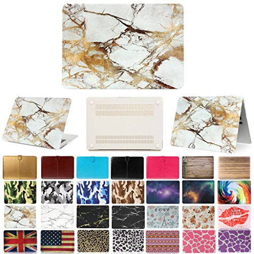 "Coosbo - Fashion Matte Patterns Hard Case Cover for 13"" 13.3"" Apple Mac Macbook Pro with Retian Accessories Gift ((Model:A1425 or A1502 on the bottom of laptop), Marble-White/Gold)"