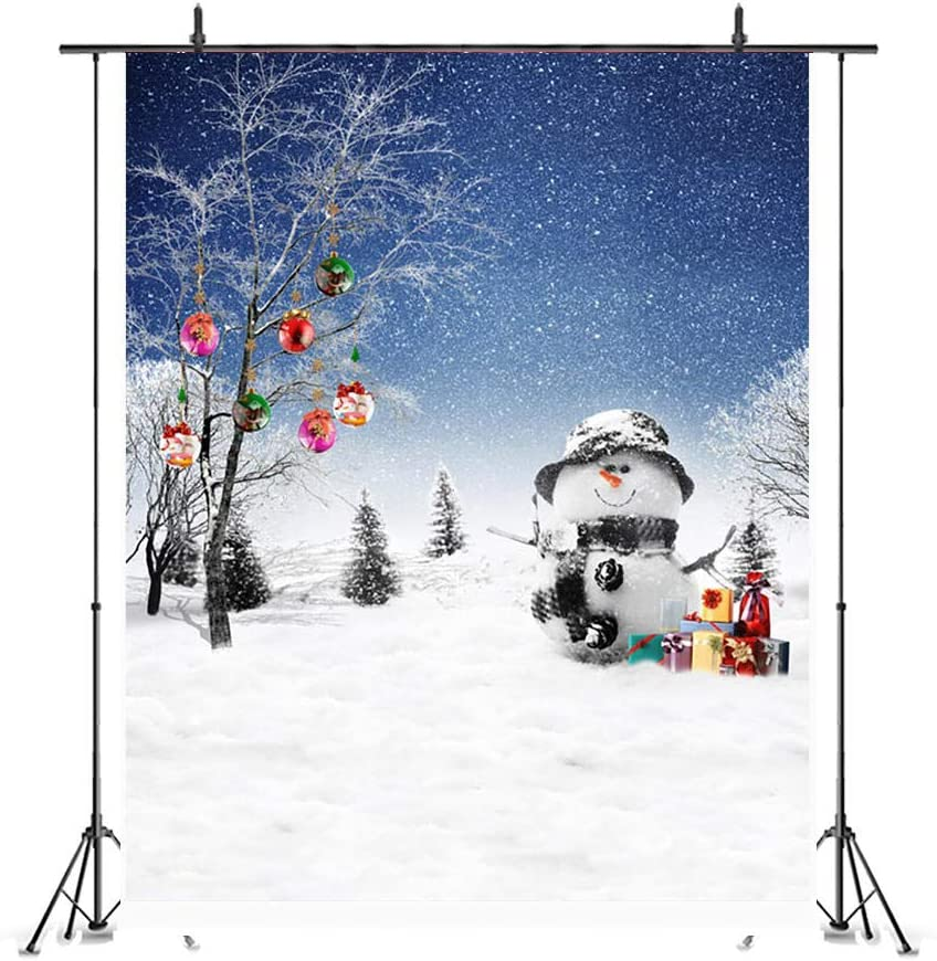 Hats Full of Snow Red Gift Box Props Shoot Decoration Modern Vinyl Photography Photo Christmas Theme Party Backdrop Banner Video Snowflakes Flying All Over The Sky Trees Full of Bells Snowman