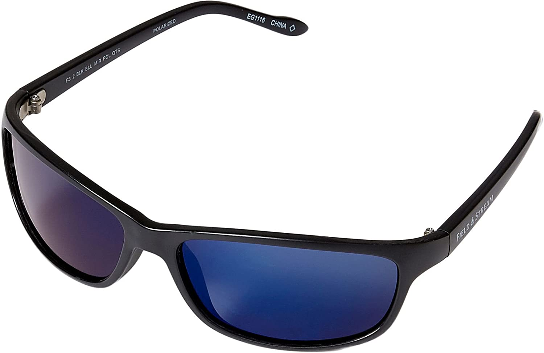 53e84026d8 Amazon.com  Field   Stream FS2 Polarized Sunglasses (Black Blue Mirror)   Sports   Outdoors