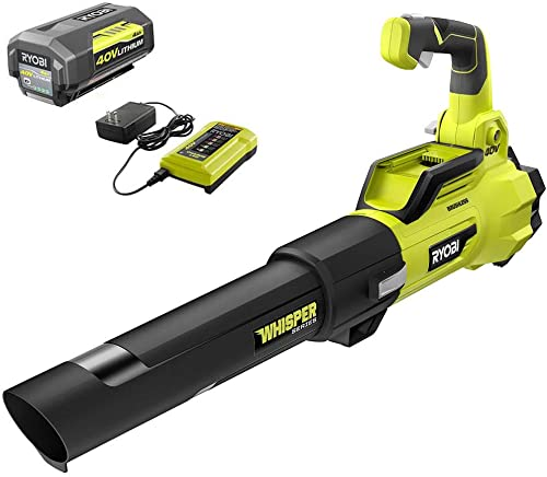 RYOBI RY40470VNM 125 MPH 550 CFM 40-Volt Lithium-Ion Brushless Cordless Jet Fan Leaf Blower – 4.0 Ah Battery and Charger Included