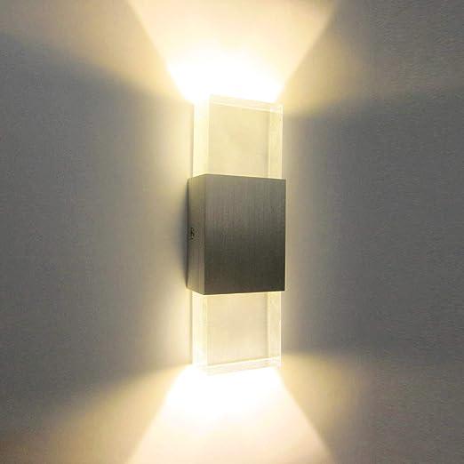 Glighone Apliques de Pared 2 LED 6W Lámpara de Pared Luz Moderna Luz de Ambiente Iluminación Interior para Pasillo, Sala de Estar, Escalera, Dormitorio, Corredor, Blanco Cálido: Amazon.es: Iluminación