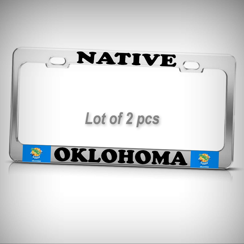 Set of 2 Pcs - Native Oklahoma Chrome Heavy Duty Tag Holder License Plate Frame Decorative Border