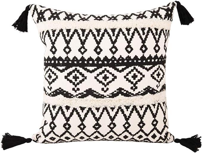 Cygnus Boho Decor Tufted Throw Pillow Covers 18x18 Inch Cotton Woven Morocco Cushion Cover Black And Cream Farmhouse Pillow Covers Black And White 18x18 Inch Home Kitchen Amazon Com