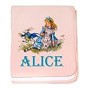 CafePress - Alice in Wonderland - Blue Baby Blanket - Baby Blanket, Super Soft Newborn Swaddle