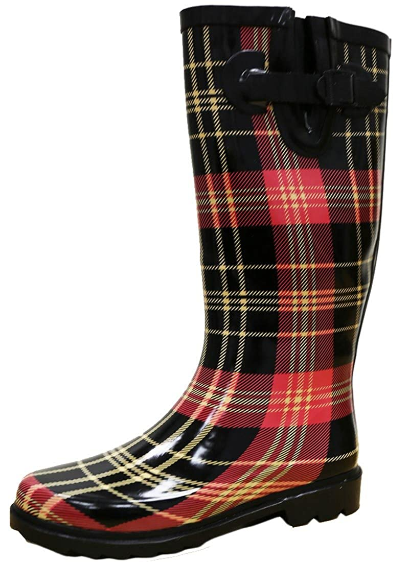 Red Black Plaid Cambridge Select Women's Waterproof Pattern Print Knee High Welly Rain Boot