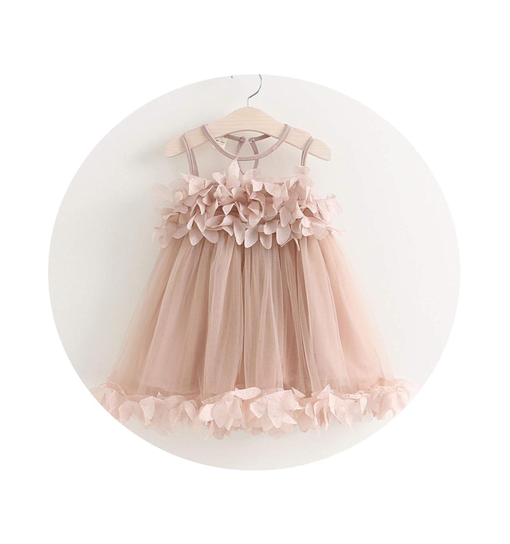 Enjoypeak Girls Dress Brand Princess Dress Sleeveless Appliques Floral Design for Girls Clothes Party Clothes