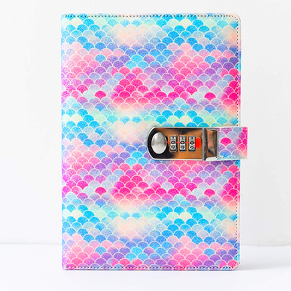 Mermaid Sequins Notebook with Lock Diary with Pen Loop A5 Wide Ruled Hardcover Writing Notebook 160 Pages