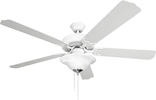 Hyperikon 52 Inch Ceiling Fan, 60W, Remote Control and Pull Chain, White Body, 5 Blades, Frosted Dome Light E12 Screwbase, White