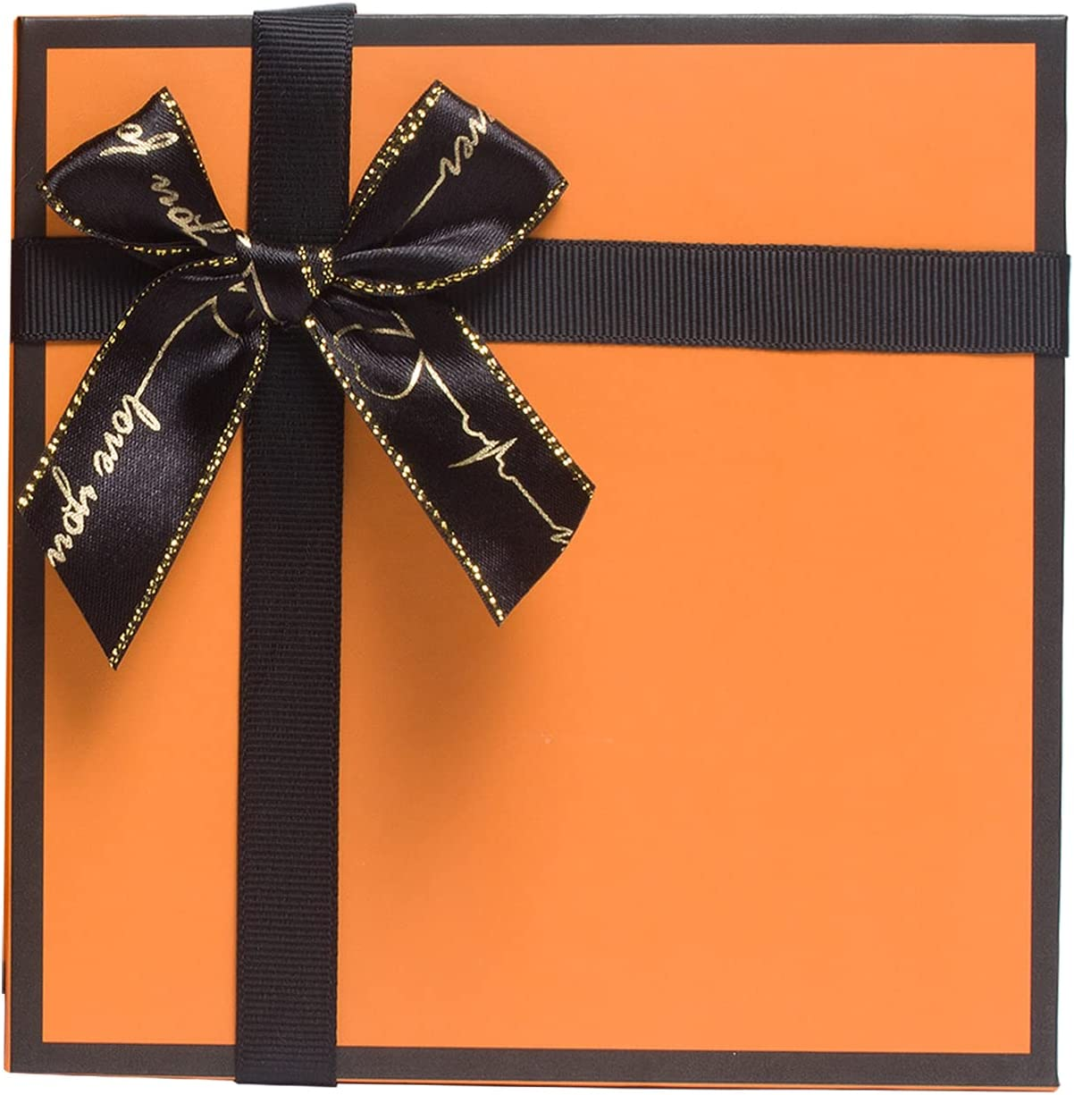 HuskyLove Luxury Gift Box - Orange Gift Boxes, with Lid and Shredded Paper Filler for Wedding, Birthday, Anniversary, Christmas (Small)