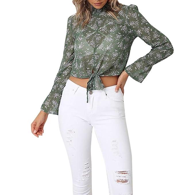Blusa Estampada Mujer Verano, Blusa Elegante de la Blusa Elegante de la Manga de la