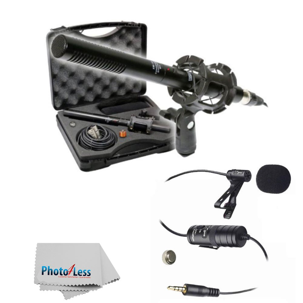 """New Vidpro XM-55 15-Piece 11"""" Condenser Shotgun Video & Broadcast Microphone Kit With Vidpro XM-L Wired Lavalier Condenser Microphone 20' Audio Cable for Canon Nikon Sony DSLR Camera Camcorders Smartphones"""