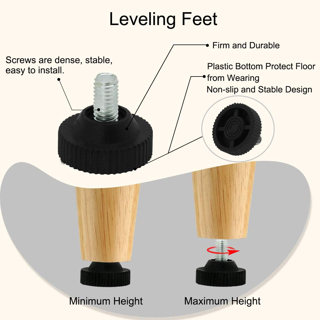 uxcell M8 x 12 x 30mm Furniture Glide Leveling Feet Adjustable Leveler Surface Protection for Chair Leg 12 Pack