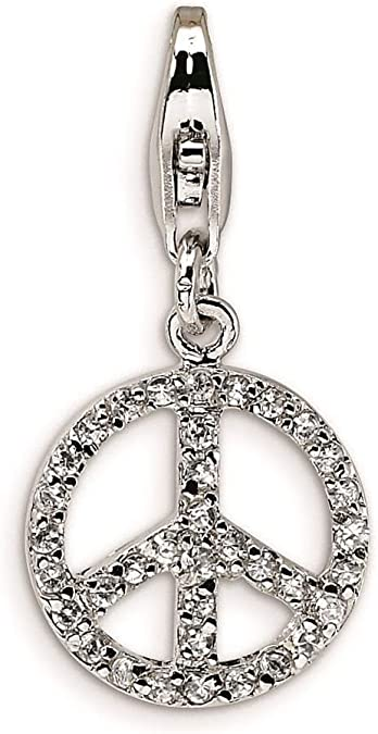 925 Sterling Silver Rhodium-plated Small Polished Peace Sign with Lobster Clasp Charm