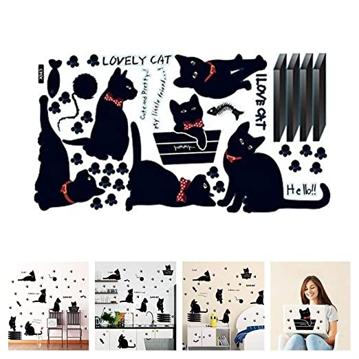 Amazon.com: Amaonm Removable DIY Cute Cartoon Black Cat Wall Decor Kids room Wall Sticker Lovly Playing Cat Wall Decals Peel Stick FOR Girls Children ...