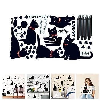 Amaonm Removable DIY Cute Cartoon Black Cat Wall Decor Kids room Wall Sticker Lovly Playing Cat