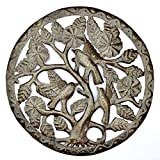 it's cactus – metal art haiti Finches In The Branches Oil Drum Art Handcrafted in Haiti 15″ x 15″ For Sale