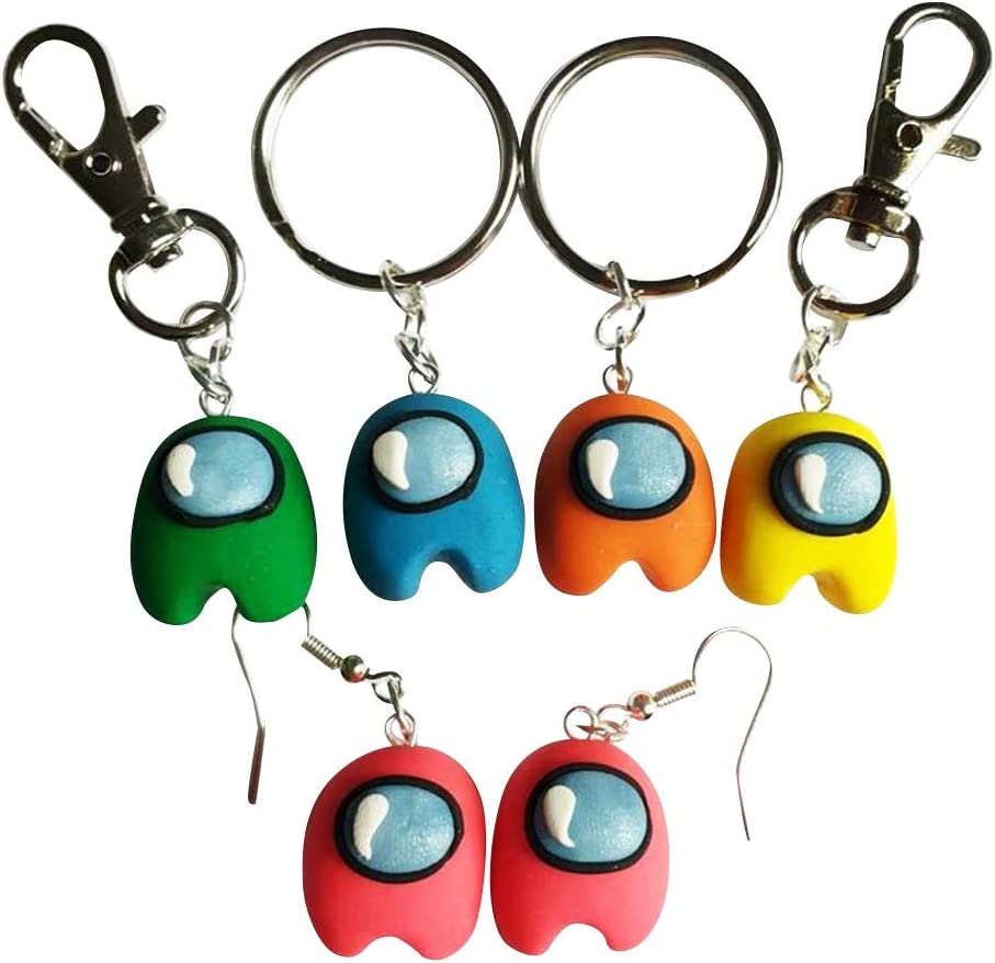 NOA Among Mini Keyrings Earrings Us Doll Toy Among Character Games Key Pendant Decor Pack with Pink Yellow Orange Blue Green Toys for Kids Adults Christmas Birthday Gift (10Pcs)