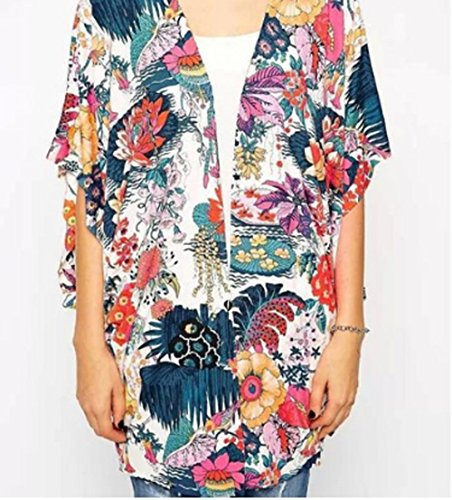 Relipop Women's Sheer Chiffon Blouse Loose Tops Kimono Floral Print Cardigan (XX-Large, Colorful) by Relipop (Image #3)
