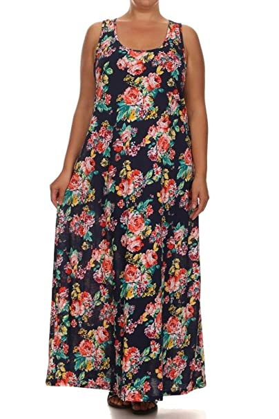 Plus Size Long Maxi Dresses for Women Racerback Sleeveless Loose Tank Dress  1X 2X 3X