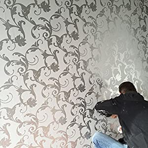 3d damask wallpaper silver and grey feature wall design for Tapisserie murale de luxe