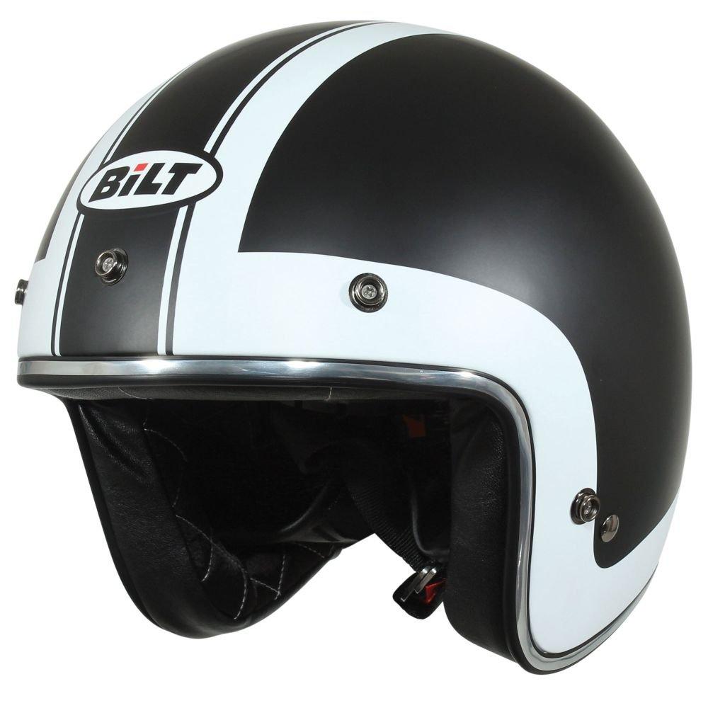 CUSTOM BILT Vintage Jet Cruiser Graphic Open-Face Motorcycle Helmet - XL, Black/White