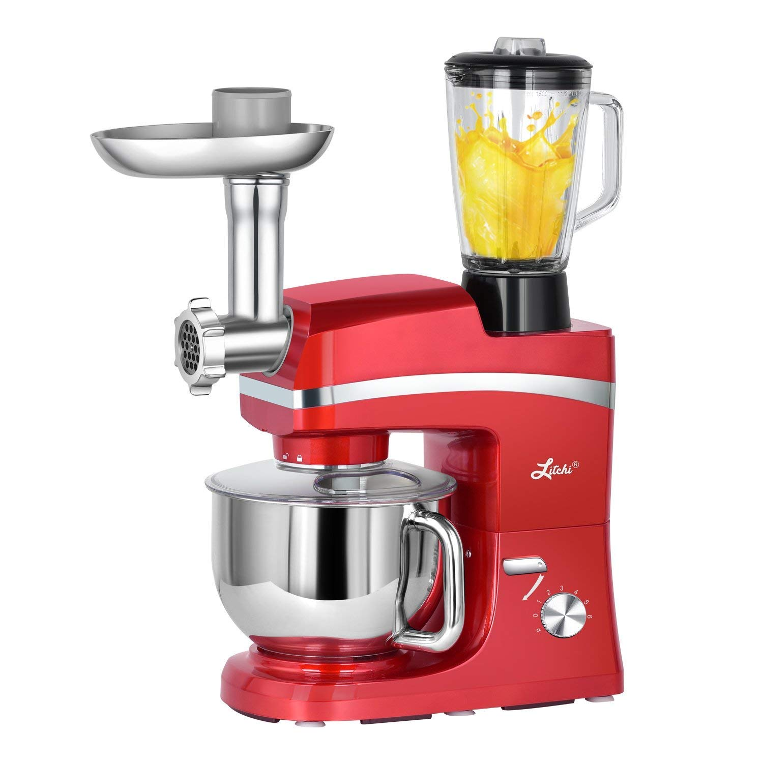 Litchi 5.3 Quart Stand Mixer, 6 Speed Tilt-Head Stand Mixer with Meat Grinder, Blender, Sausage Stuffer, Pasta Dies, Dough Hook, Mixing Blade, Flat Beater, Whisk and Pouring Shield, Red
