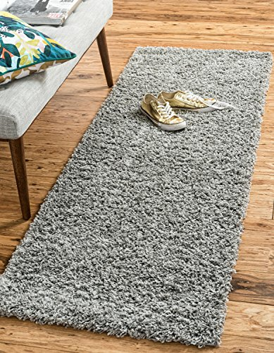 (Unique Loom Solo Solid Shag Collection Modern Plush Cloud Gray Runner (2' x 6'))