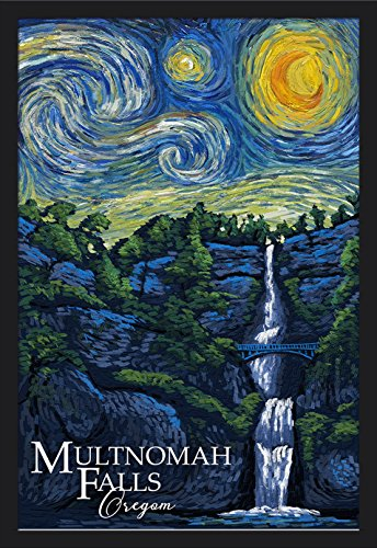 Multnomah Falls, Oregon - Van Gogh Starry Night (24x36 Giclee Art Print, Gallery Framed, Black Wood)