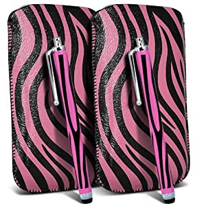 LG L90 Protección Premium de Zebra PU tracción Piel Tab Slip In Pouch Pocket Cordón piel cubierta de la caja de liberación rápida y Stylus Pen (Twin Pack) Rosa y Negro por Spyrox