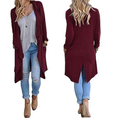 Coper Women Long Sleeve Loose Irregular Cardigan Casual Coat