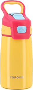 AUTO FLIP 12 OZ Stainless Steel Kids Water Bottle for Girls Double Wall Beverage Carry Kid Cup Vacuum Insulated Leak Proof Thermos Handle Spout BPA-Free Portable Sports Bottle for Boys (Lemon)