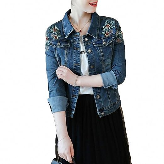 Womens Denim Jacket Vintage Embroidery Floral Plus Size Bomber Jackets Slim