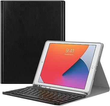 MoKo Funda Compatible con iPad 8ª Generación 2020 iPad 7ª Gen 2019 Teclado, Cubierta con Soporte para Apple Pencil, Protector de Teclado Inalámbrico ...