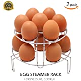 TaiTian 2 Piece Upgraded Heavy Duty Version Stackable Stainless Steel Rustless Egg Steamer Rack for Instant Pot Accessories and Pressure Cooker, Pressure Cooker Accessories