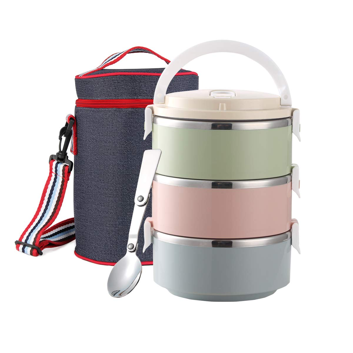 Stackable Stainless Steel Lunch Box, Food Container with Insulated Lunch Bag and Foldable Spoon, Leak Proof Bento Lunch Box for Adults Kids Students Food Storage Boxes (2-Tier, Blue) Maiyuansu