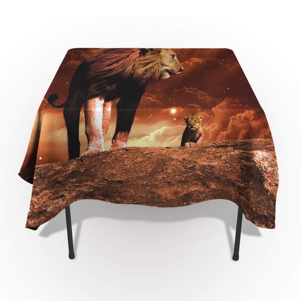 Fantasy Star 長方形 ポリエステル製テーブルクロス 見事なライオン柄 洗濯機洗い可能 テーブルカバー 装飾テーブルクロス キッチン ダイニング 宴会 パーティー用 60