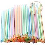100 Pcs Wide Fat Boba Milkshake Plastic Straws,Disposable Striped Jumbo Smoothie Pointed Straws.(0.39''diameter and 8.2…