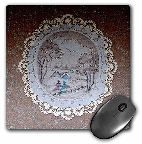 - 3dRose Beverly Turner Christmas Design - Couple in Snow Scene, Vintage Postcard Look with Lace, Taupe - MousePad (mp_195863_1)