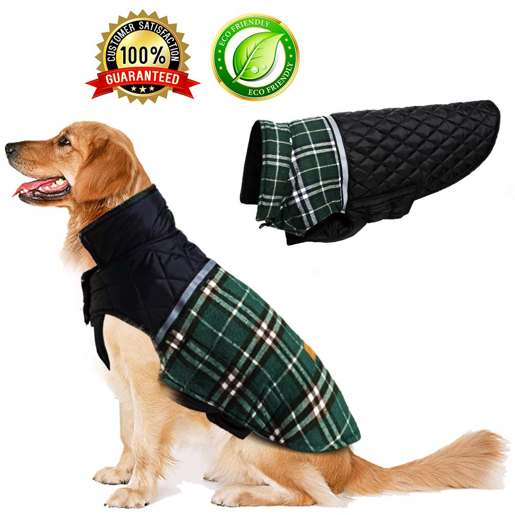 Green L Green L BESAZW Dog Cold Weather Coats Warm Reversible Dog Jacket Vest British Plaid Jacket for Small Medium Large Dogs,Green L