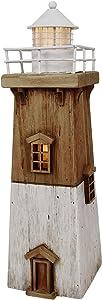 Nautical Lighthouse Table Decorations LED Lighthouse Figurine Hand Painted Rustic Wood Lighthouse Ornament Nautical Bathroom Decor (13.78)