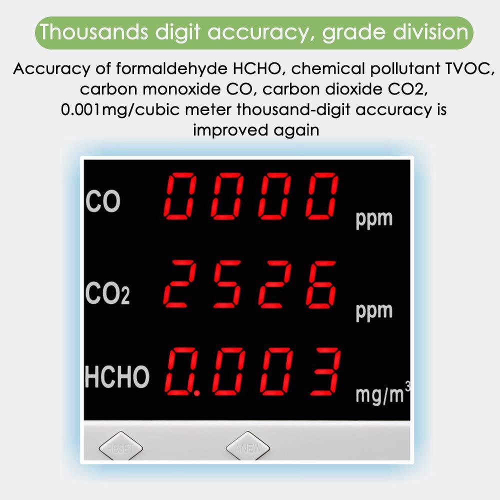 TVOC CO InLoveArts Monitor de calidad del aire recargable,formaldeh/ído CO2 y detector de calidad del aire Detector multifuncional de fugas de gas para oficina en casa y varias ocasiones recargable