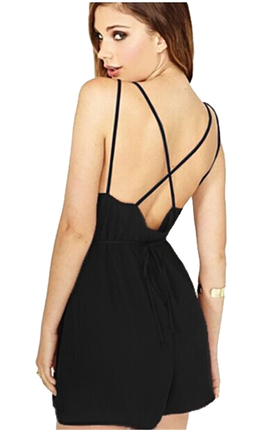 Moxeay Women V Neck Backless Short Playsuit Rompers