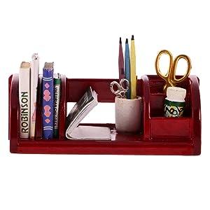 Jili Online Vintage 1/12 Dollhouse Miniature Office Supplies Kit Accessories Book Shelf Study Stationery Organizer Red