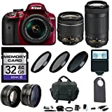 Nikon D3400 DSLR Camera (Red) with 18-55mm & 70-300mm Lens Accessory...