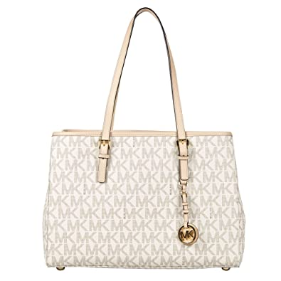 de355a7d983d Amazon.com: MICHAEL Michael Kors Large Jet Set E/W Travel Tote in Vanilla:  Shoes