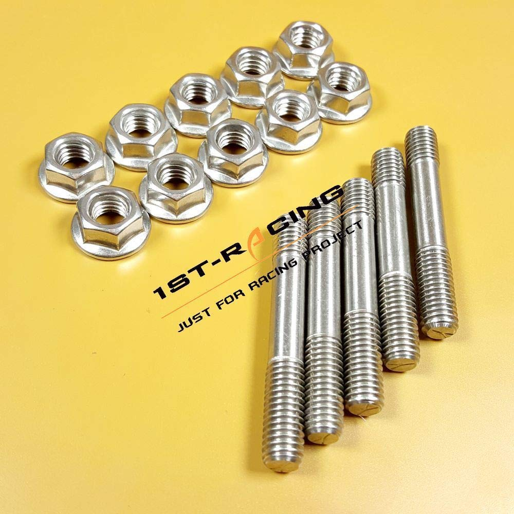 Pack of 5 M8 x 1.25 x 50mm Ispeedytech Stainless Steel 8mm Exhaust Manifold Studs