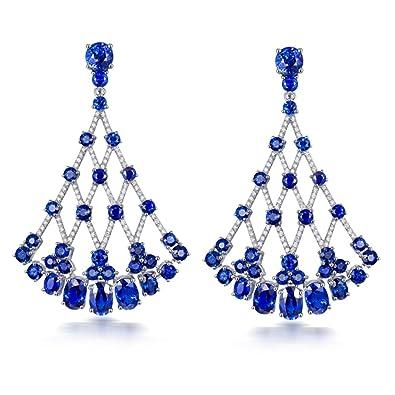 18 Ct Weiss Gold Naturlicher Diamant Tropfen Ohrringe Saphir Hochzeit