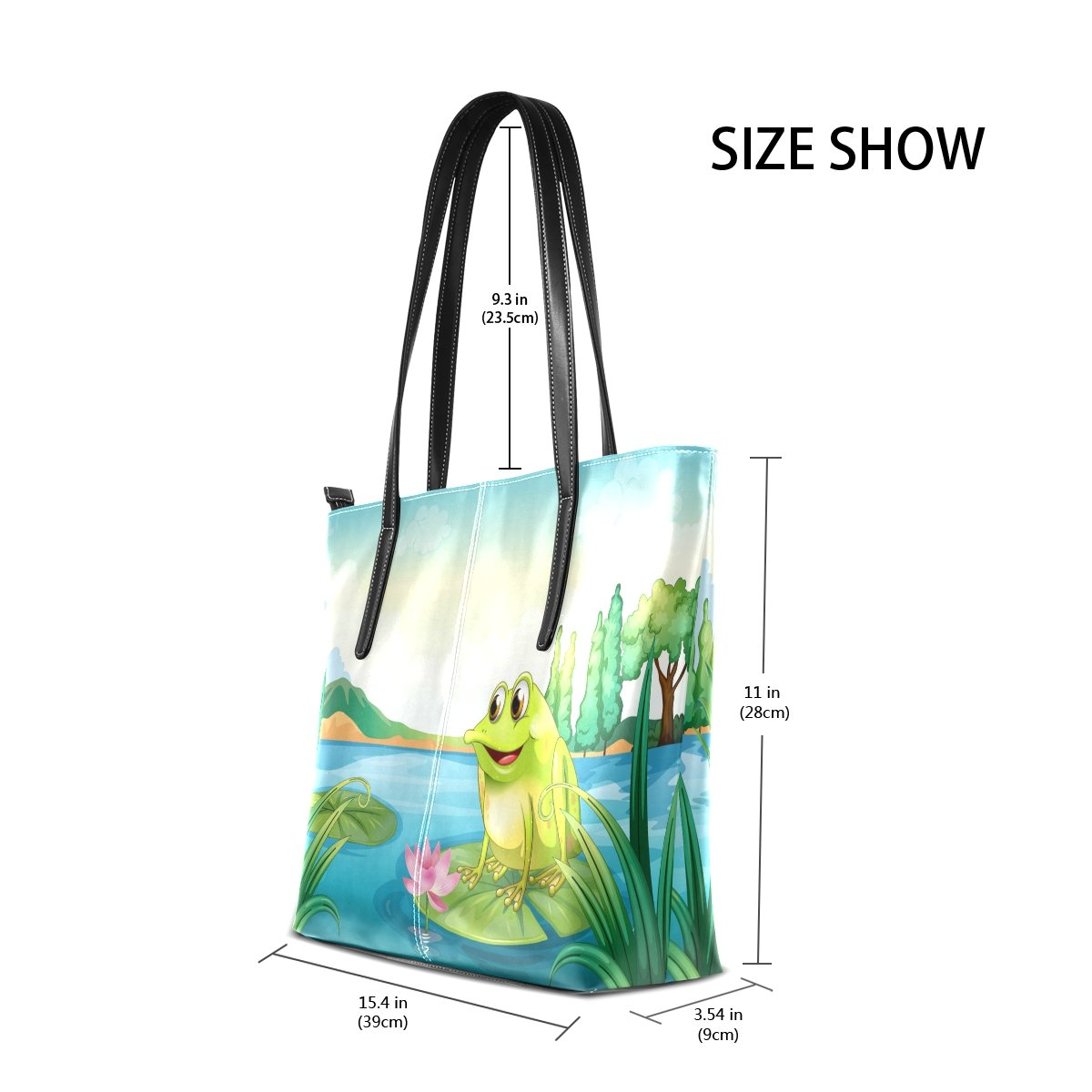 WOZO Cartoon Frog Lotus Flower PU Leather Shoulder Tote Bag Purse for Women Girls