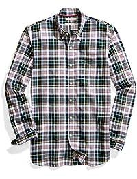 Men's Standard-Fit Long-Sleeve Lightweight Madras Plaid Shirt